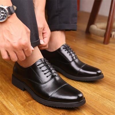 メンズ ビジネスシューズ 歩きやすい 外羽根 ビジネス 防水 紳士靴 PUレザーシューズ 通勤 結婚式  新秋 YAA 2021
