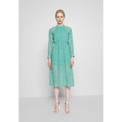 ウェンズデイガール レディース ワンピース トップス HIGH NECK ELASTICATED WAIST RAGLAN SLEEVE DRESS - Day dress - de-ja-vu green d