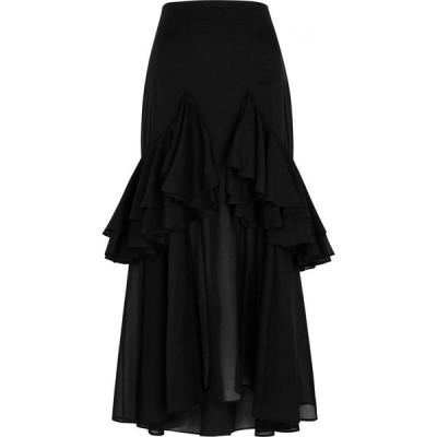トーテム Toteme レディース ひざ丈スカート スカート Coja Ruffled-Trimmed Cotton Midi Skirt Black