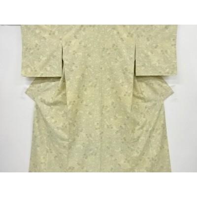宗sou 未使用品 仕立て上がり 楓模様織り出し十日町紬着物【着】