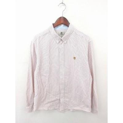 【中古】ティンバーランド 国内正規品 シャツ ボタンダウン ストライプ ロゴ 刺繍 綿 長袖 XL/TG ホワイト オレンジ