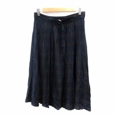 【中古】インデックス INDEX プリーツスカート ミモレ ロング チェック ウエストマーク M 紺 ネイビー 茶 ブラウン