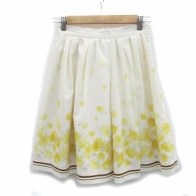 【中古】レストローズ L'EST ROSE スカート ギャザー フレア ひざ丈 花柄 2 オフホワイト /MS31 レディース