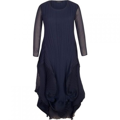 チェスカ Chesca レディース ワンピース ワンピース・ドレス Matt Crepe Chiffon Flounce Trim Dress Navy