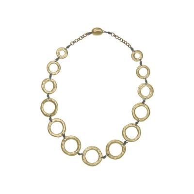 ザサック レディース ネックレス・チョーカー・ペンダントトップ アクセサリー Hammered Open Disc Grey Cord Collar Necklace GOLD