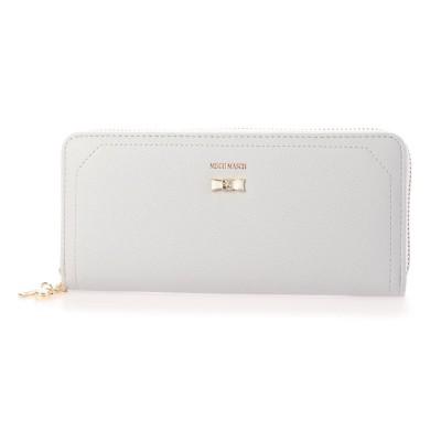 ミッシュマッシュ MISCH MASCH パウダーシリーズ リボンブローチ付きラウンドファスナー財布 (グレー)