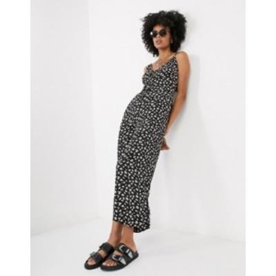 トップショップ レディース ワンピース トップス Topshop jumpsuit in floral print Black