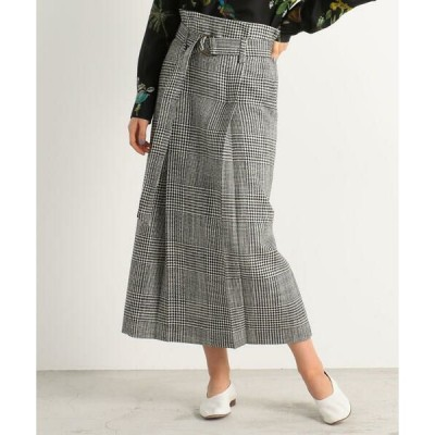 TOMORROWLAND / トゥモローランド CABaN ウールグレンチェック ベルテッドスカート