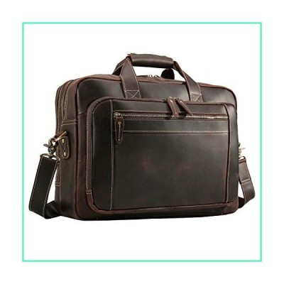 "Texbo Men's Solid Thick Full Grain Leather 17.3"" Laptop Briefcase Messenger Bag Fit Business Travel並行輸入品"