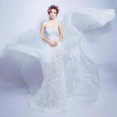 マーメイドライン ウエディングドレス レディース トレーンタイプ ロングドレス ベアトップ 花嫁ドレス オシャレ 上品な ブライダルドレ