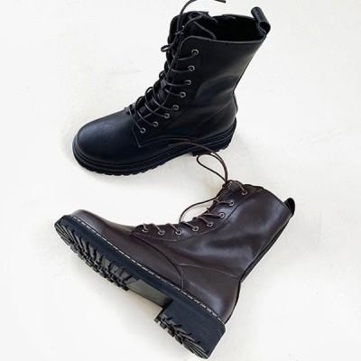 ショートブーツ ワークブーツ レースアップ サイドジップ ローヒール フラット 厚底 レディース 靴 婦人靴 ブラック ブラウン 黒 茶色