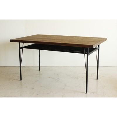 古木風 ダイニングテーブル単品 4人掛け 4人用 机 食卓テーブル 幅140cm パイン無垢 スチール脚 棚付き収納 作業台 西海岸