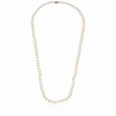 Sterling Silver White Freshwater Cultured A Quality Pearl Necklace (6.5-7mm), 24""