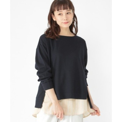tシャツ Tシャツ 裾ストライププルオーバー