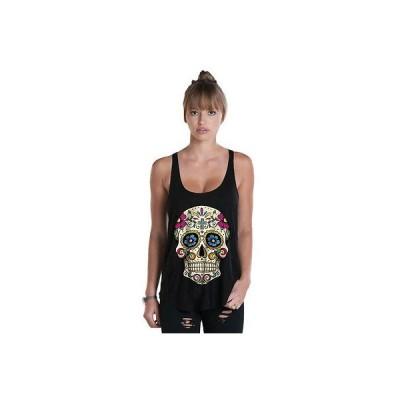 Tシャツ レディース 海外セレクション Women's Fifty5 Clothing Psychedelic Sugar Skull Vintage Racerback Tank Top Black