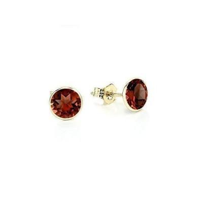 14K Yellow Gold Handmade Gemstone Stud Earrings With 6 MM Round Garnet Gemstones