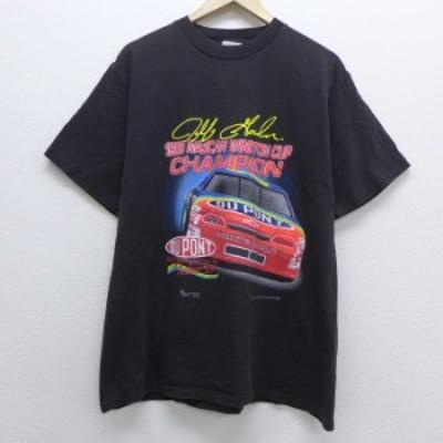 古着 半袖 ビンテージ Tシャツ 90年代 90s レーシングカー コットン クルーネック 白 ホワイト Lサイズ 中古 メンズ Tシャツ 古着