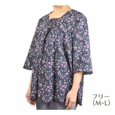 綿揚柳5分袖チュニックフリー/LL 日本製  50代・60代・70代・80代 シニアファッション 敬老の日  50代 60代 70代 80代 90代 おばあちゃん