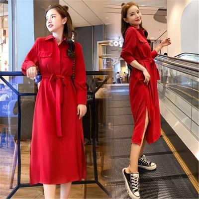 [55555SHOP]✨ 20代 30代 40代 レディース エレガント 赤いドレス 個性的なデザイン  腰止めひも 細身 ロング シャツワンピース 上品 シンプルドレス  新作 シャツワンピース