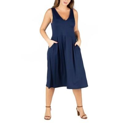 24セブンコンフォート レディース ワンピース トップス Women's Plus Size Sleeveless Midi Fit and Flare Pocket Dress