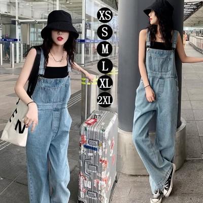 韓国ファッション デニム サロペット オールインワン オリジナル女性が一番似合うお洒落感抜群 デニムサロペット