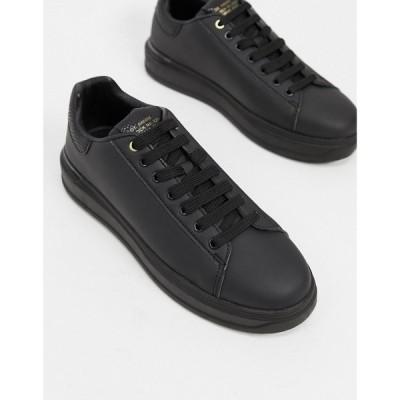 リバーアイランド River Island メンズ スニーカー シューズ・靴 wedged trainers in black ブラック