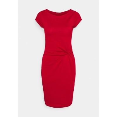 アンナフィールド ワンピース レディース トップス Short sleeves mini dress with knot at waist - Jersey dress - red