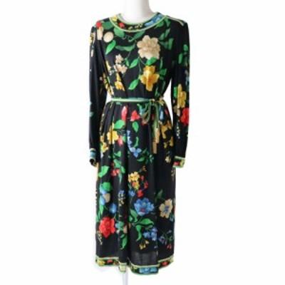 良品◎日本製 レオナール ファッション ベルト付き シルク混 長袖 ロングワンピース  ブラック×マルチカラー 花柄 ペチコート付き サイ