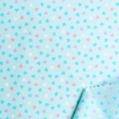 双日ファッション コットンプリント生地 ハート柄 巾110cm×1m切売カット D 水色 DH13097S-D