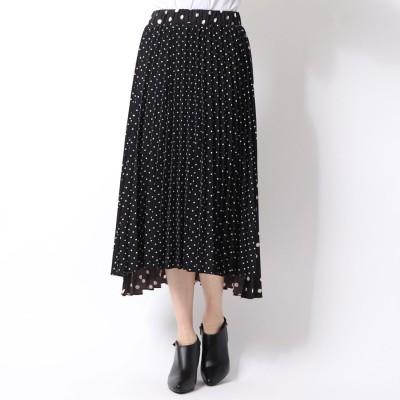 シュベック SVEC ドットプリーツスカート (ブラック)