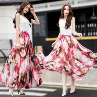 花柄 スカート ロングスカート マキシスカート フレアスカート フラワー シフォンスカート 大きいサイズ Aライン チュールスカート ホワ