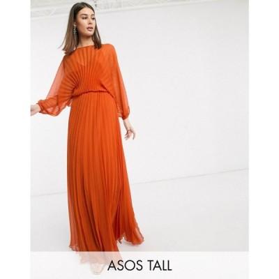 エイソス ASOS Tall レディース ワンピース マキシ丈 ワンピース・ドレス ASOS DESIGN Tall Blouson pleated Maxi dress with self belt ラストオレンジ