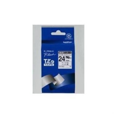 ブラザー TZe-S251  ラベルライターピータッチ用 強粘着ラミネートテープ 白テープ 黒文字 幅24mm 長さ8m