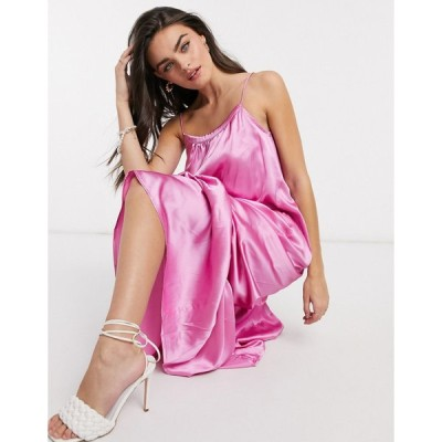 エイソス マキシドレス レディース ASOS DESIGN satin cami trapeze maxi dress with pep hem エイソス ASOS ピンク