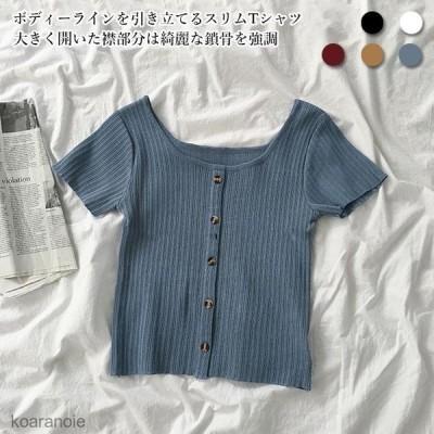半袖TシャツスリムTシャツレディース薄手ニット夏半袖Tシャツストレッチ性ニットTシャツサマーTシャツリブTシャツ