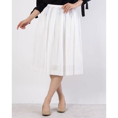 リネーム Rename ひざ丈シンプルギャザースカート(ホワイト)