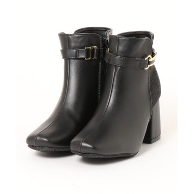 Mafmof / Realta(レアルタ) 飾り付きベルトスクエアトゥチャンキーヒール ショートブーツ WOMEN シューズ > ブーツ