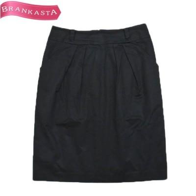 BALLSEY ボールジー シンプル ストレッチ 膝丈 コクーンスカート 38 ブラック  \先取りセール/22mc30