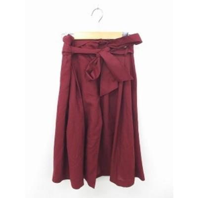 【中古】マーキュリーデュオ MERCURYDUO スカート フレア ロング 無地 シンプル ウエストリボン S 赤紫 ワインレッド