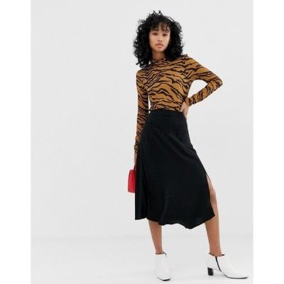 マンゴ レディース スカート ボトムス Mango polka detail midi skirt in black Black