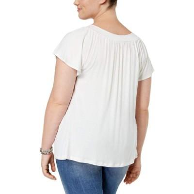 Soprano Plus Size Short-Sleeve Embellished V-Neck Top (3X, Ivory)
