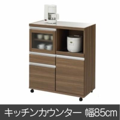 完成品 日本製  キッチンワゴン キッチンボード ジャストシリーズ MRD-85 ブラウン ステンレス天板 キャスター付き