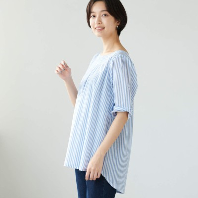 柔らかな綿100%フランス綾素材の袖リボンチュニックブラウス【M―3L】