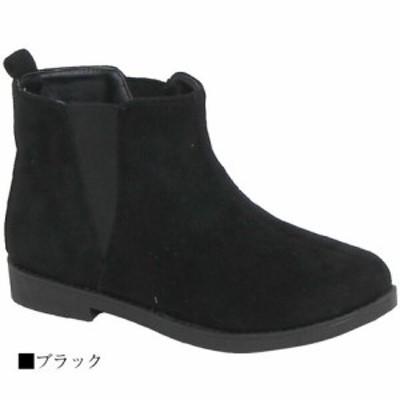 冬ブーツ★すっきりサイドゴアシンプルスエードショートブーツ ローヒール -- キャメル S