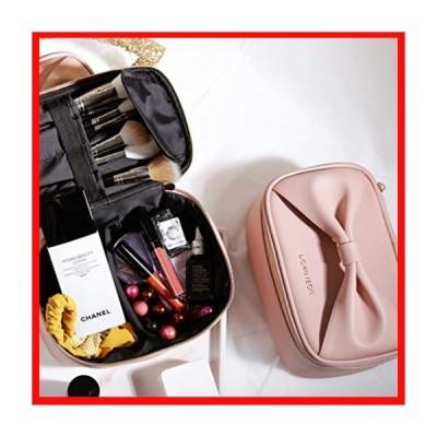 Rownyeon バニティポーチ 化粧ポーチ ブラシ入れ付き メイクポーチ 大容量 機能的 リボンハンドル 化粧ボックス