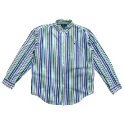 オールド ポロラルフローレン マルチストライプ ワンポイントロゴ ボタンダウンシャツ サイズ表記:ボーイズXL