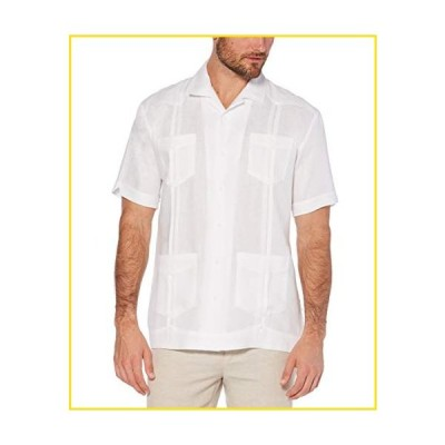 新品Cubavera Men's Short Sleeve 100% Linen Guayabera, Bright White, Large並行輸入品