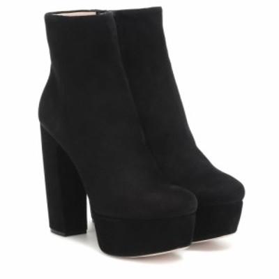 ミュウミュウ Miu Miu レディース ブーツ ショートブーツ シューズ・靴 Suede platform ankle boots Nero