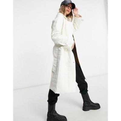パブリックデザイア コート レディース Public Desire trench coat in quilted pu エイソス ASOS ホワイト 白