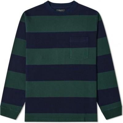 ビームス プラス Beams Plus メンズ 長袖Tシャツ ポケット トップス Long Sleeve Stripe Pocket Tee Green